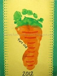 This footprint carrot is fun as a spring or Easter craft and even as a vegetable craft for preschoolers. It is simple to make. Paint, or have the child paint, t