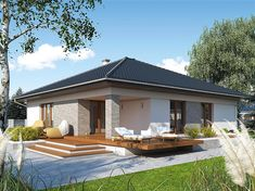 Projekt domu MT Ariel paliwo stałe CE - DOM - gotowy koszt budowy Bungalow Haus Design, Bungalow House Plans, Modern Family House, Modern House Design, Best House Plans, Dream House Plans, House Paint Exterior, Interior Exterior, Style At Home