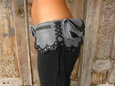 victorian era belt bag in grey crackled leather