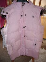 ABERCROMBIE&FITCH Vintage Pink Sleeveless Parka with fur trim Hood Size M - 6/8
