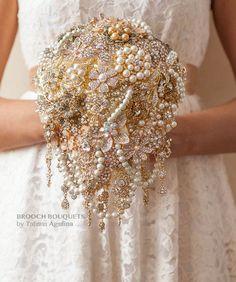 Cascading Brooch bouquet. Gold vintage wedding brooch bouquet, Jeweled Bouquet by MagnoliaHandmade on Etsy https://www.etsy.com/listing/226041630/cascading-brooch-bouquet-gold-vintage