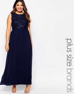 Image 1 ofClub L Plus Size Maxi Dress With 3D Floral Sequin Top