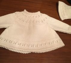 Baby Matinee Jacket / Sweater and Bonnet 1st by LuxuryHandKnits