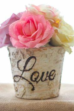 Rustic Birch Bark Wedding Love Vase   eBay