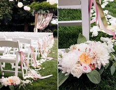 Tie ribbons midway on chairs. Place clusters of flowers on floor at back?
