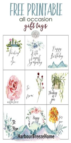 Show you care with a free printable gift tag. With sentiments for sympathy, birthday, thinking of you, and to and from, they are perfect for all occasions. Free Printable Gift Tags, Free Printables, Sympathy Gifts, Paper Crafts, Gift Wrapping, Things To Sell, Birthday Tags, Box Templates, Card Sayings