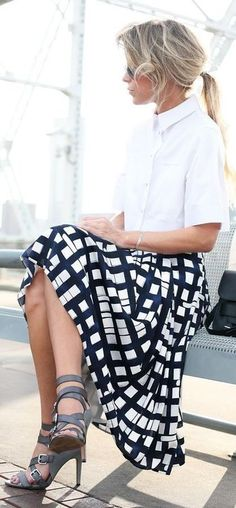 Black and white midi skirt with white blouse
