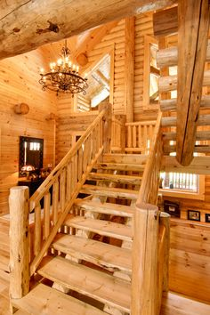Log Homes, Log Cabins, Custom Designed - Timberhaven Log Homes - Log Home Gallery Small Log Homes, Log Cabin Homes, Log Cabins, Mountain Cabins, Loft Railing, Interior Stair Railing, Rustic Staircase, Staircase Design, Timber Frame Homes
