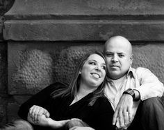 Black and white photograph of couple for their engagement session. #Cincinnati #wedding #weddingstyle