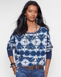 Print Wide-Neck Top - Denim & Supply  Long-Sleeve - RalphLauren.com