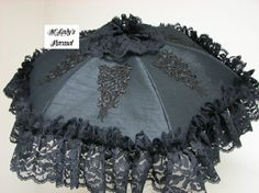 VICTORIAN PARASOL Umbrella in Black Dupioni Faux by MLadysParasols, $45.50