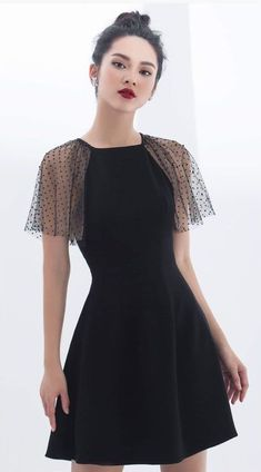 Korean fashion · fashion outfits · black dress with lace sleeves cute dresses, cute outfits, prom dresses, formal dresses Tight Dresses, Simple Dresses, Cute Dresses, Beautiful Dresses, Casual Dresses, Short Dresses, Dresses With Sleeves, Trendy Dresses, Formal Dresses
