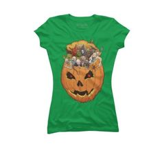 Halloween Monsters Women's Medium Kelly Green Graphic T-Shirt