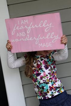 Hand painted Sign // I am fearfully and wonderfully made // on Etsy // Sariko Designs