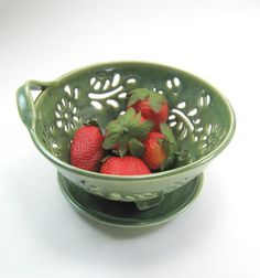 Ceramic Berry Bowl Colander with coaster dish by GlyntPottery, $35.00