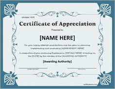 Certificate Of Appreciation 01 | Places To Visit | Pinterest | Certificate,  Appreciation And Printable Certificates