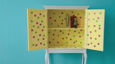 This vintage cupboard looks pretty but ordinary until you open the doors .the purple and green polka dots have added a fun twist making it into a 'one-off' hidden gem. Lemon Drizzle Gloss, Purple Passion and Luscious Lime. Armoire, Dulux Valentine, How To Look Pretty, Cupboard, Playroom, Bookcase, Recycling, Shabby Chic, Shelves