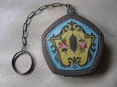 Antique Art Deco Silver Blue Yellow Guilloche Pink Floral Dance Pentagon Compact
