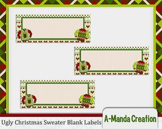 Ugly Christmas Sweater Party Printable Blank Address Labels