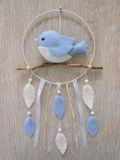 Baby Dream Catcher bird blue felt mobile and drift wood, Christmas gift baby or child, birth, baptism gift, birthday gift. Baptism Gifts, Baby Baptism, Felt Mobile, Birth Gift, Felt Patterns, White Butterfly, Christmas Gifts For Kids, Deux Faces, Summer Crafts