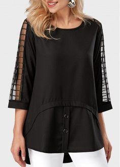 Mesh Panel Three Quarter Sleeve Black Blouse on sa. Trendy Tops For Women, Blouses For Women, Blouse Styles, Blouse Designs, Fashion Sewing, Black Blouse, Shirt Blouses, Mesh Panel, Quarter Sleeve