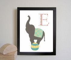Alphabet Nursery Art Print, Circus Elephant, Letter E, E is for Elephant, Kid Art, Children Decor, Nursery Wall Decor, Baby Art Print. $14.00, via Etsy.