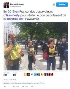 Alors qu'une nouvelle manifestation contre la loi Travail avait lieu ce mardi entre place d'Italie et Bastille à Paris, des personnes sur place dont un journaliste du Monde ont remarqué la présence de plusieurs observateurs d'Amnesty International.   Manif anti-loi Travail: pourquoi des observateurs d'Amnesty étaient présents