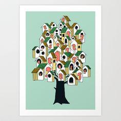 Bird+houses+Art+Print+by+Budi+Satria+Kwan+-+$19.97
