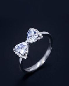 affordable popular bling CZ bow ring for her