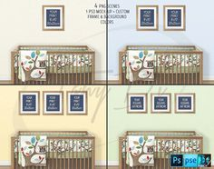 Nursery Interior #6 Set of Wood Portrait 8x10 & Square 10x10 Matted Frames Wood Baby Crib, 4 Print Display Mockups PNG PSD PSE Custom colors