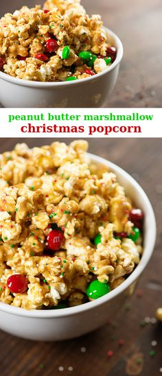 Ooey gooey peanut butter and marshmallows coat this Christmas popcorn! An easy recipe for kids!