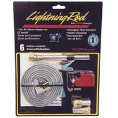 Lightning Rod-Gas RV Water Heater Kit-6 Gallon-110V. Lightning Rod Gas Water Heater Kit, 6 Gallon, uses AC power to heat water and save your propane. The Lightning Rod kit can heat water to 125F in 45-90 minutes leaving the LP system intact. Your Price: $84.95