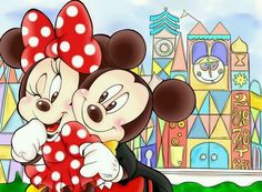 Mickey & Minnie spending time together near It's a Small World.