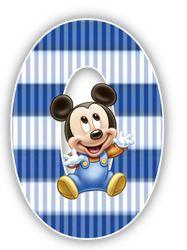 Alfabeto Mickey Bebé con fondo en rayas celestes. | Oh my Alfabetos!