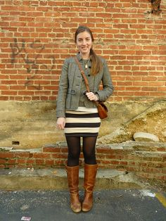 outfit, striped skirt, brown boots, college fashion