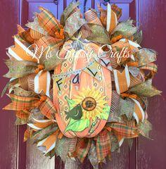 Fall Wreath - Fall Pumpkin Wreath - Fall Deco Mesh Wreath - Fall Burlap Wreath - Autumn Wreath - Autumn Deco Mesh Wreath - Fall Ribbon by MsSassyCrafts on Etsy https://www.etsy.com/listing/247952091/fall-wreath-fall-pumpkin-wreath-fall