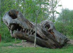 Head shot of a chainsaw sculpted dragon in Scole Bridge, Norfolk. Sculptor: Ben Platts-Mills.