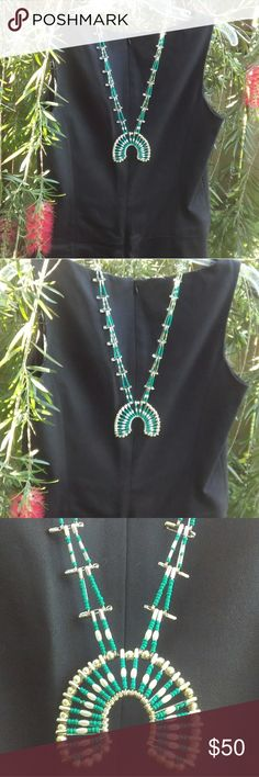 "Squash Blossom Safety Pin Necklace Squash Blossom Safety Pin Necklace. Turquoise greenish seed beads, silver plated and glass beads. I made this during my cancer recovery and would love to find a new home for this beauty! Approx. 26"" round and the emblem is 3"" across. Jewelry Necklaces"
