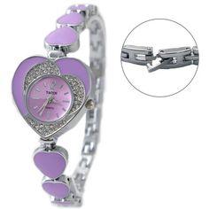 FW899C New Shiny Silver Band Purple Dial Ladies Violet Heart Case Bracelet Watch