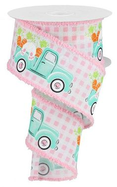 """Excited to share this item from my #etsy shop: Bunny and Truck Wired Ribbon, 2.5"""" pink with bunny carrot truck drift Easter Ribbon, pink and white check bunny ribbon, RG08157WT #easter #pink #canvas #white #wreathsbyrobin Wired Ribbon, Blue Ribbon, Pink Gingham, Pink Blue, Farm Trucks, Cute Bunny, Easter Bunny, Craft Supplies, Carrots"""