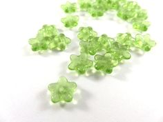25 Transparent Green Czech Glass Flowers 5 Petal Bead Caps 8x3mm for 6mm+ Beads - 25 pc - 6507-GR-19 by allearringsandsuppli on Etsy