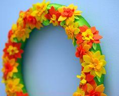 #SummmerDecor #Tropical #Blossom #Felt #Wreath Bright Felt by BubbleGumDish.com