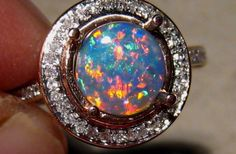 Change my mind - Birthstone Engagement ring! Brilliant Red Blue Solid Black Opal & Diamond Ring 14k Rose Gold