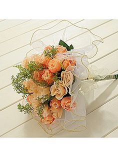 Trimmed Organza Wrapped Rose Wedding Bouquet in Light Orange - USD $12.99