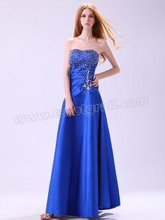 Fashion Color Beading Strapless Long Blue Dresses