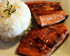 salsa di soia e lo zucchero di salmone con riso bianco