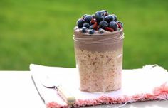 Overnight Oats with Cashew Cream. Overnight Oats with Cashew-Blueberry Cream - Vegan Gluten Sugar & Dairy Free! Easy Overnight Oats, Dairy Free Milk, Cashew Cream, Oatmeal Recipes, Frozen Banana, Nutritious Meals, Healthy Breakfasts, Meals For Two, Food 52