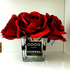 Chanel Inspired vase / Chanel Roses / Chanel by CandleLandd