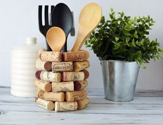 If you're looking for wine cork craft ideas, here is a DIY kitchen utensil holder that will look great in your kitchen or make an ideal gift for wine lovers
