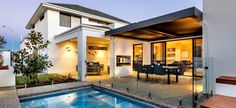 apg Homes - Opus two storey display home pool and alfresco Double Storey House Plans, Double Story House, 2 Storey House, Storey Homes, Dream House Plans, Modern House Plans, Alfresco Designs, Modern Pools, New Home Builders